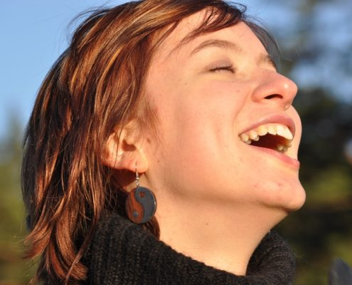 Fun Laughter Young Girl Happiness Sunset Cheerful